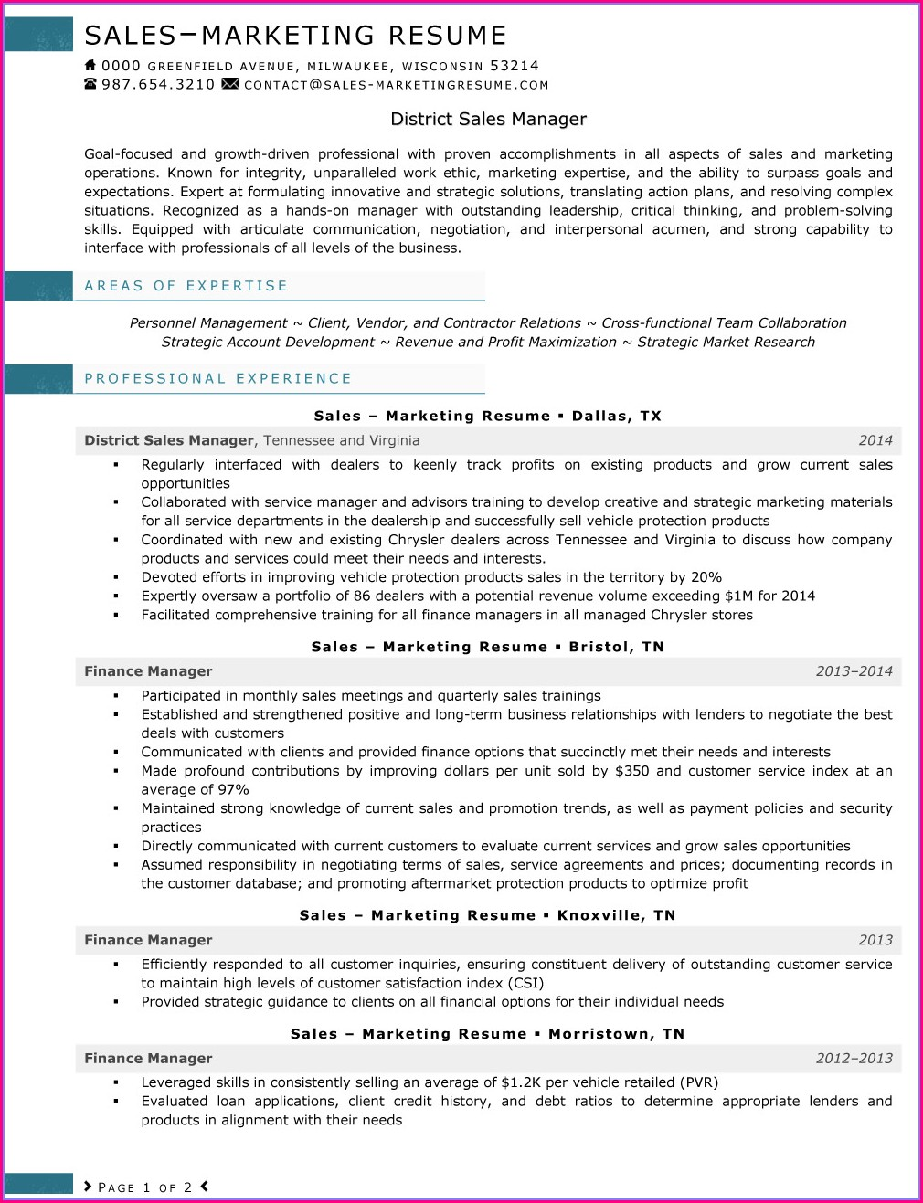 Resume Samples For Marketing And Sales Jobs