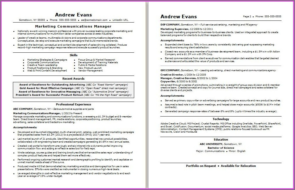 Resume Samples For Marketing Executives