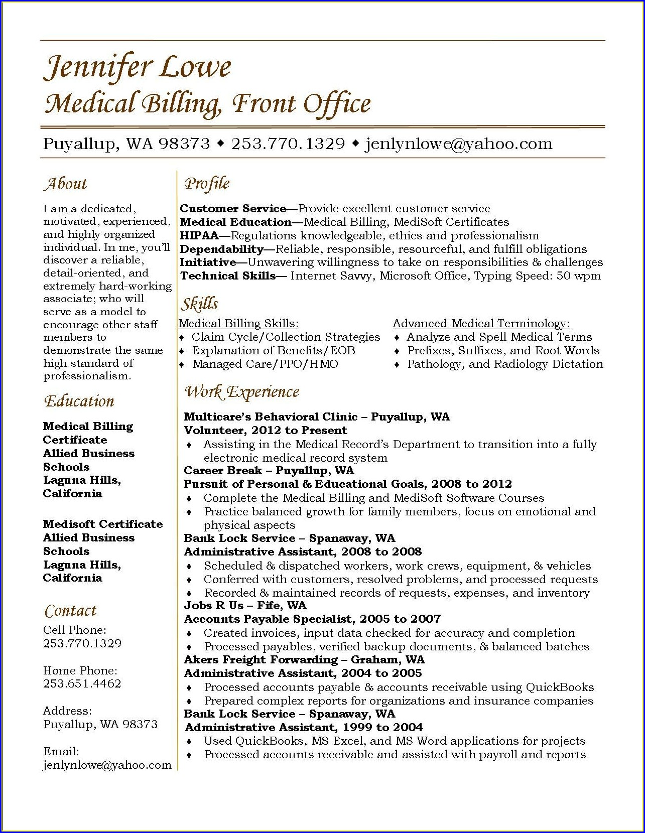 Resume Samples For Medical Billing And Coding