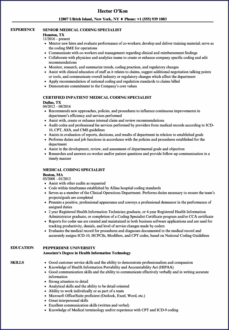 Resume Samples For Medical Coding And Billing