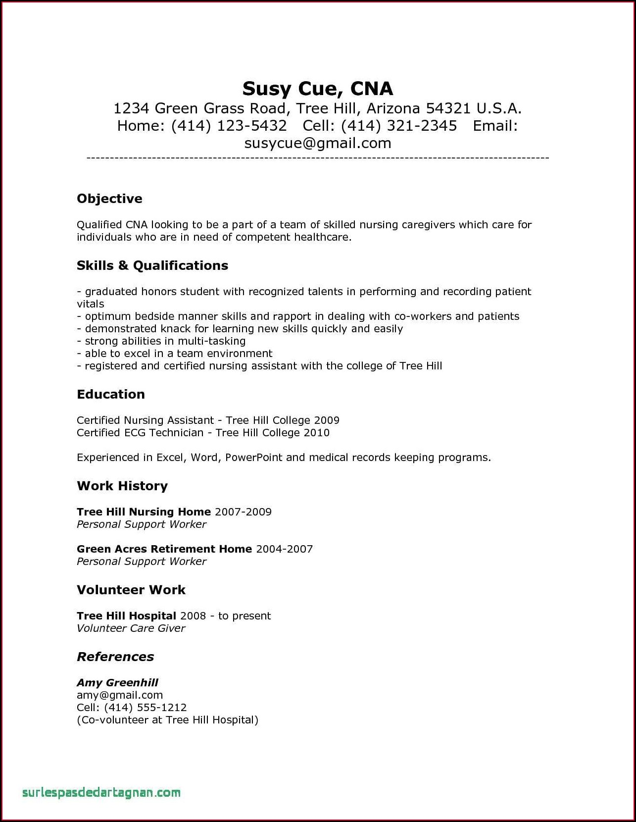 Resume Skills And Abilities Nursing Assistant