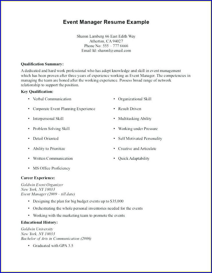 Resume Summary Examples For Students With No Work Experience
