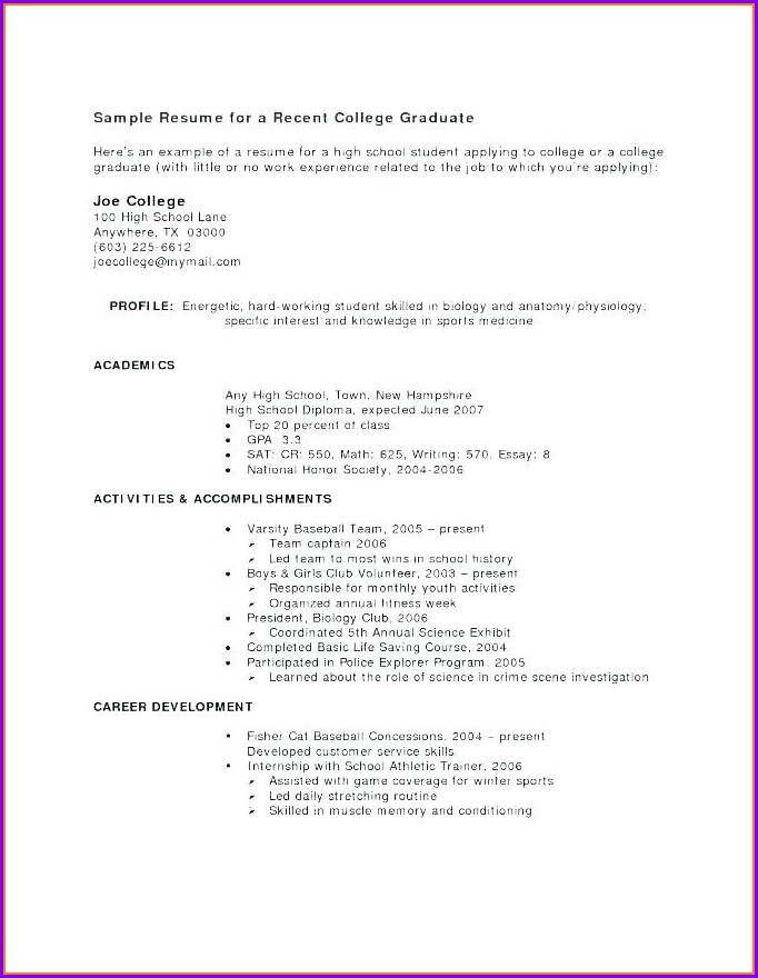 Resume Template For High School Student Internship