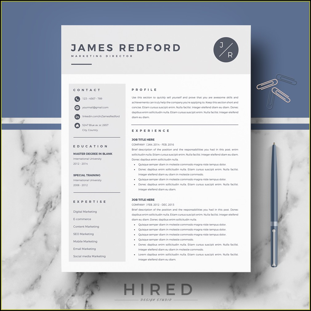 Resume Template For Mac Pages Free