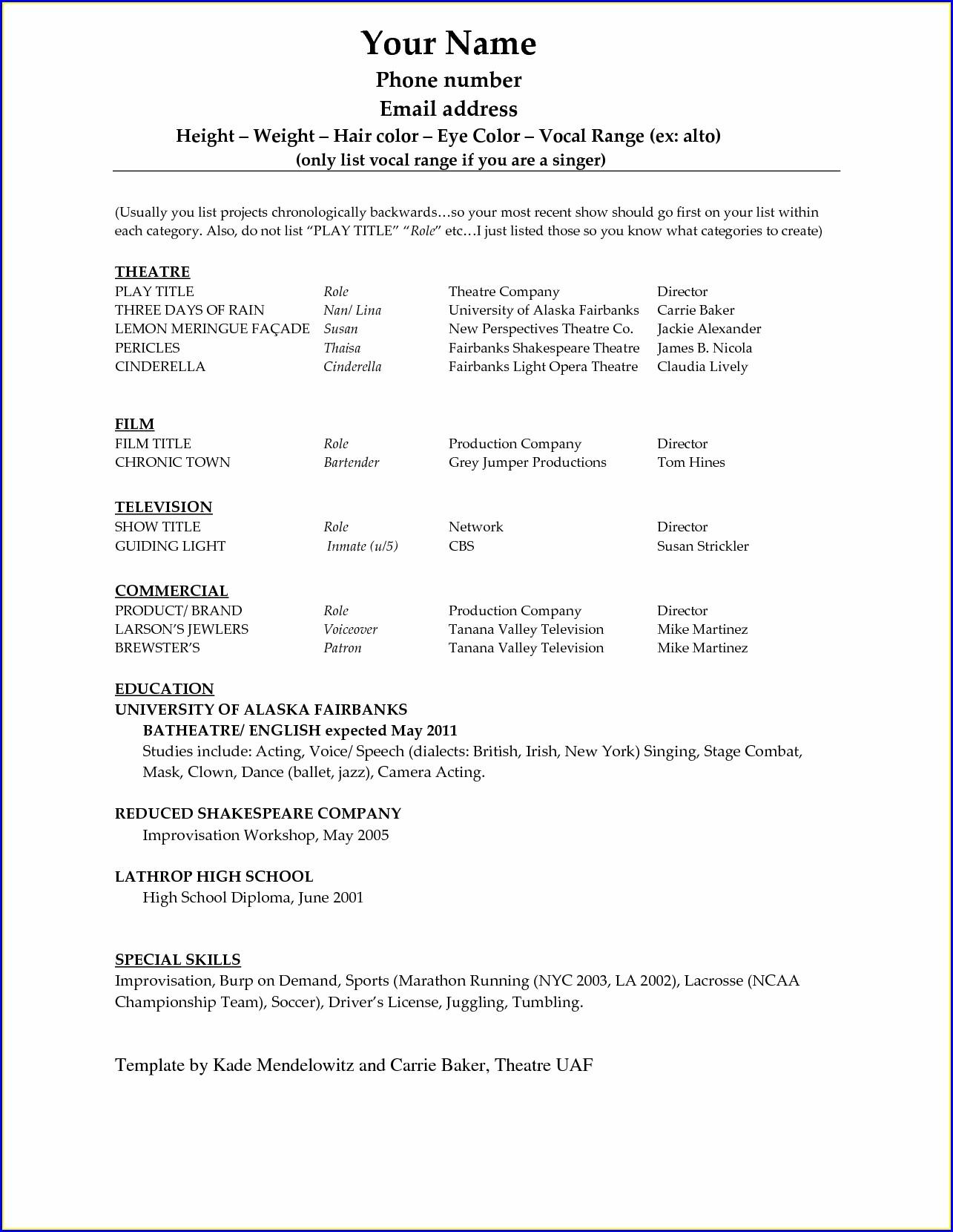 Resume Template Microsoft Word 2010