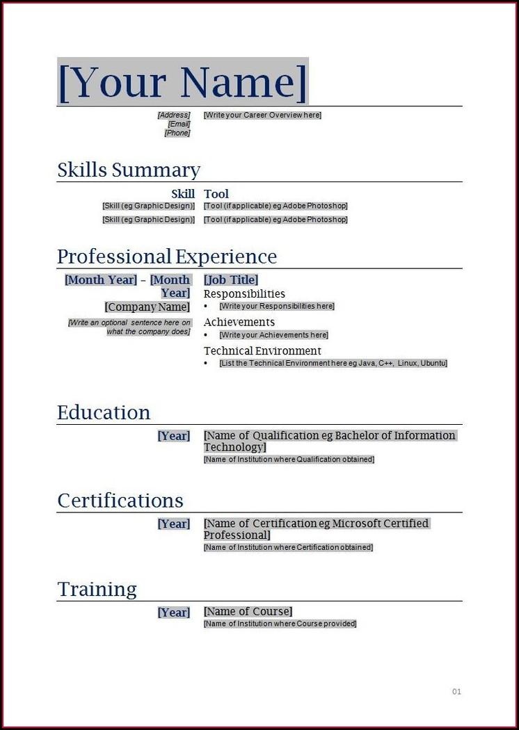 Resume Templates Blank Free Printable
