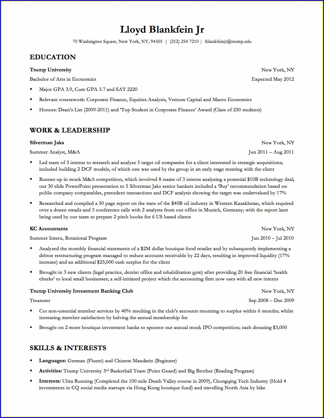 Resume Templates For Bankers