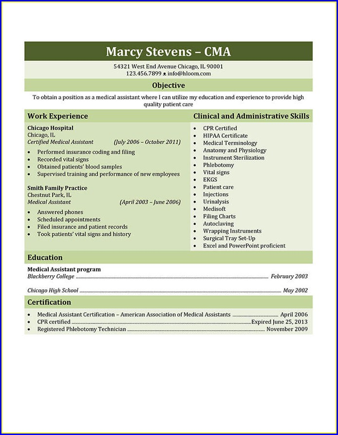 Resume Templates For Medical Assistant Students