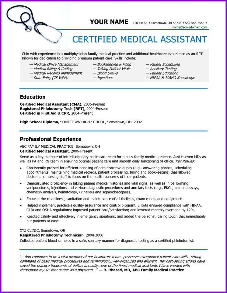 Resume Templates For Medical Assistants