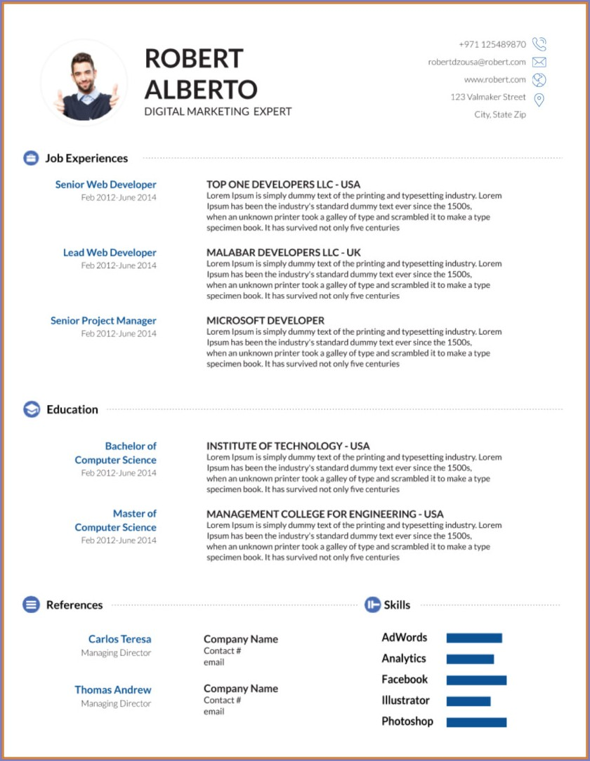 Resume Templates For Microsoft Word Download