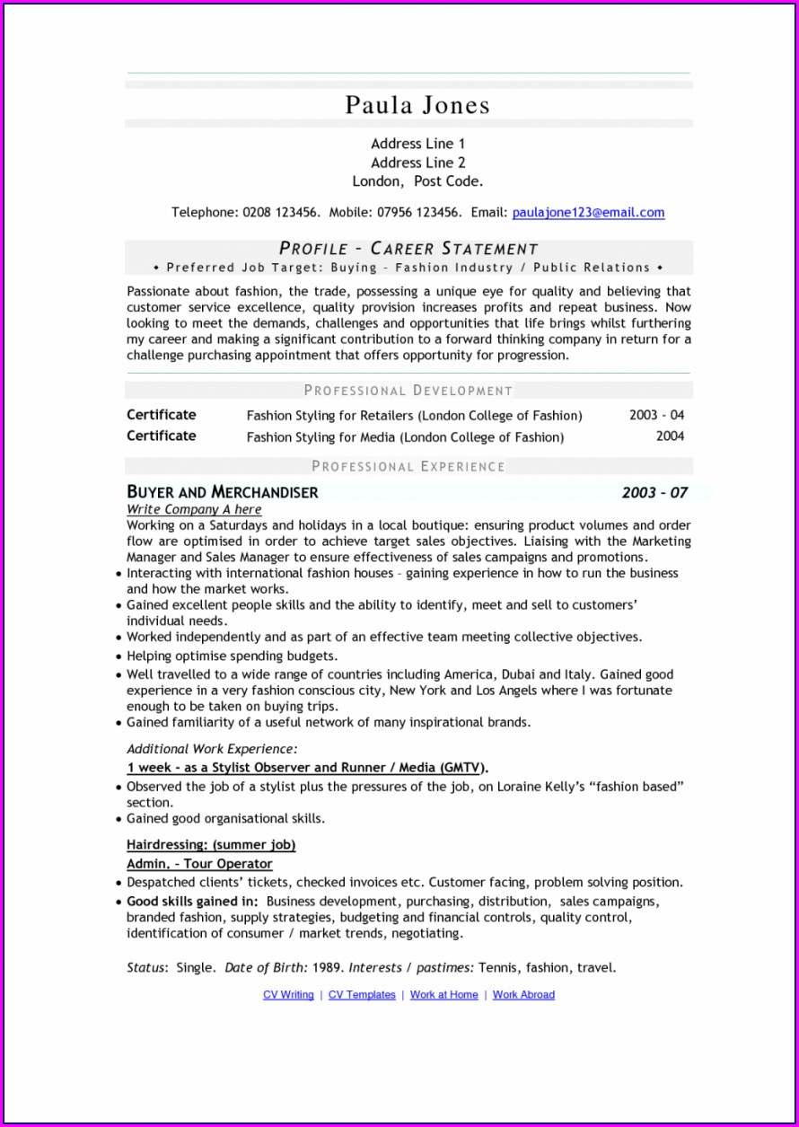 Resume Templates For Retail Merchandiser