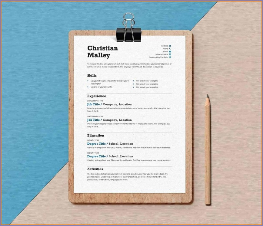 Resume Templates For Word Document