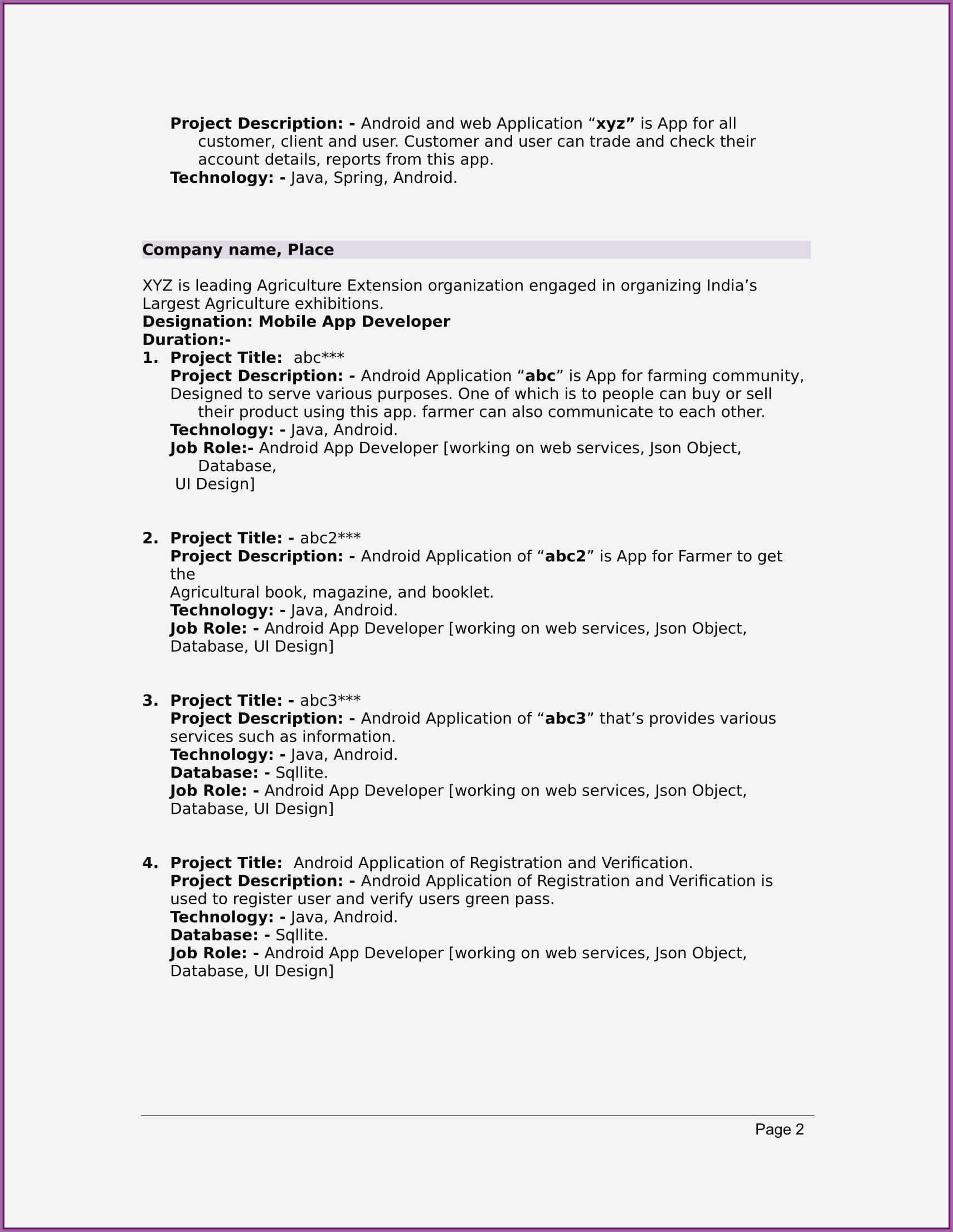 Resumes Free Download For Freshers