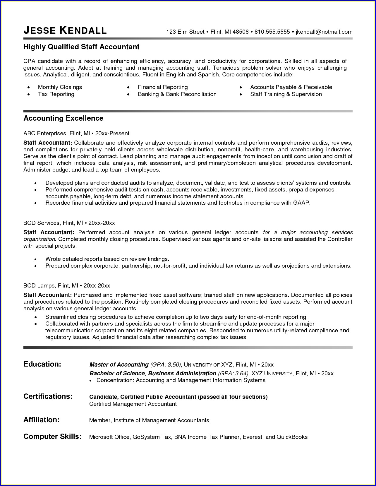 Resumes Samples For Accounting Jobs