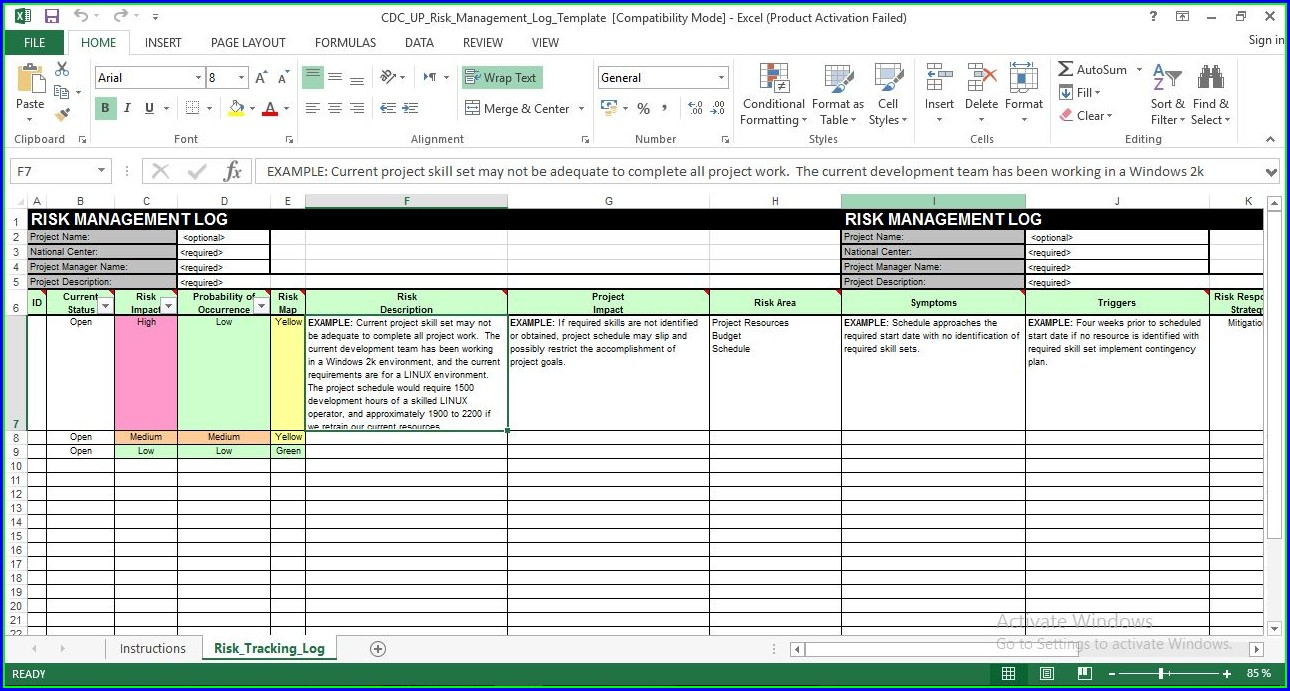 Risk Management Template Excel