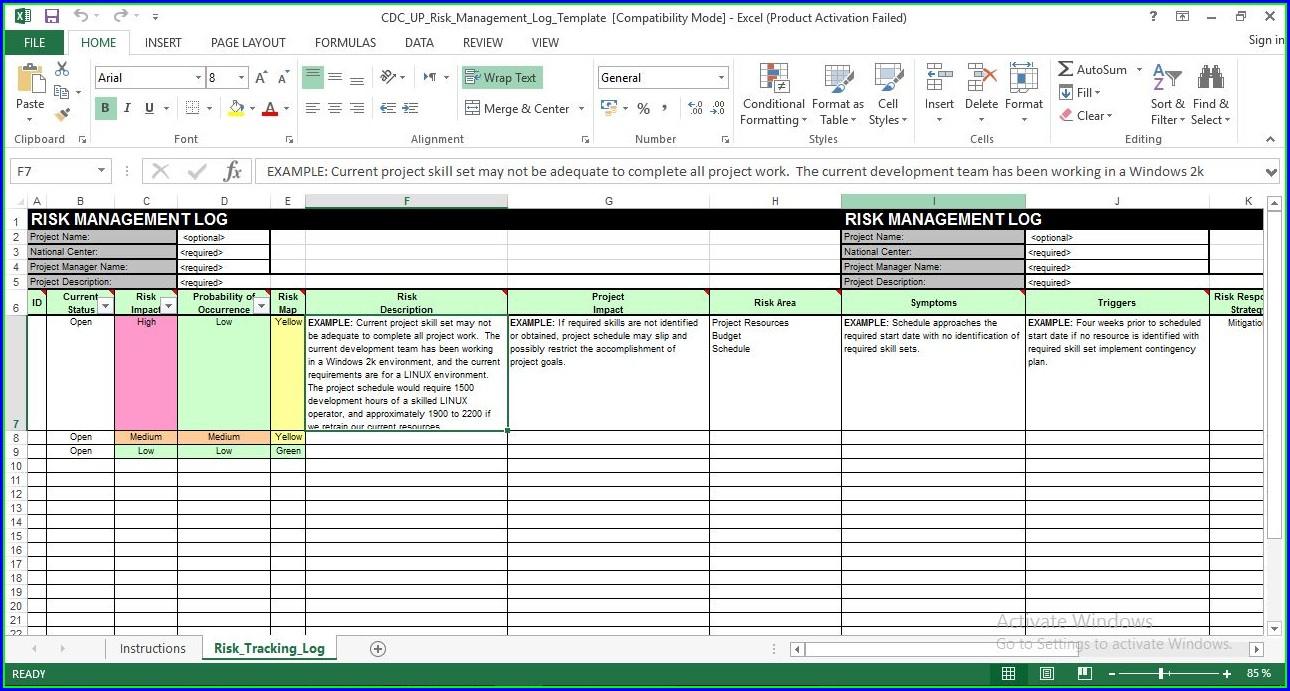 Risk Management Template Excel