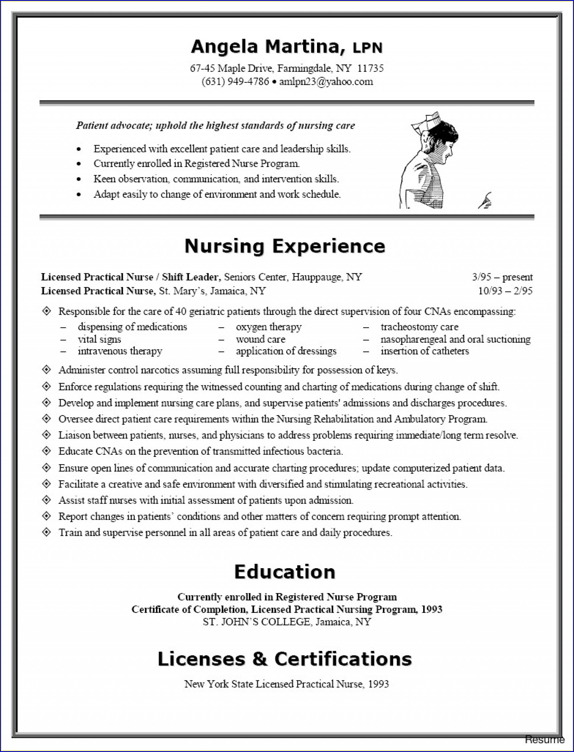 Rn Resume Template Word Free