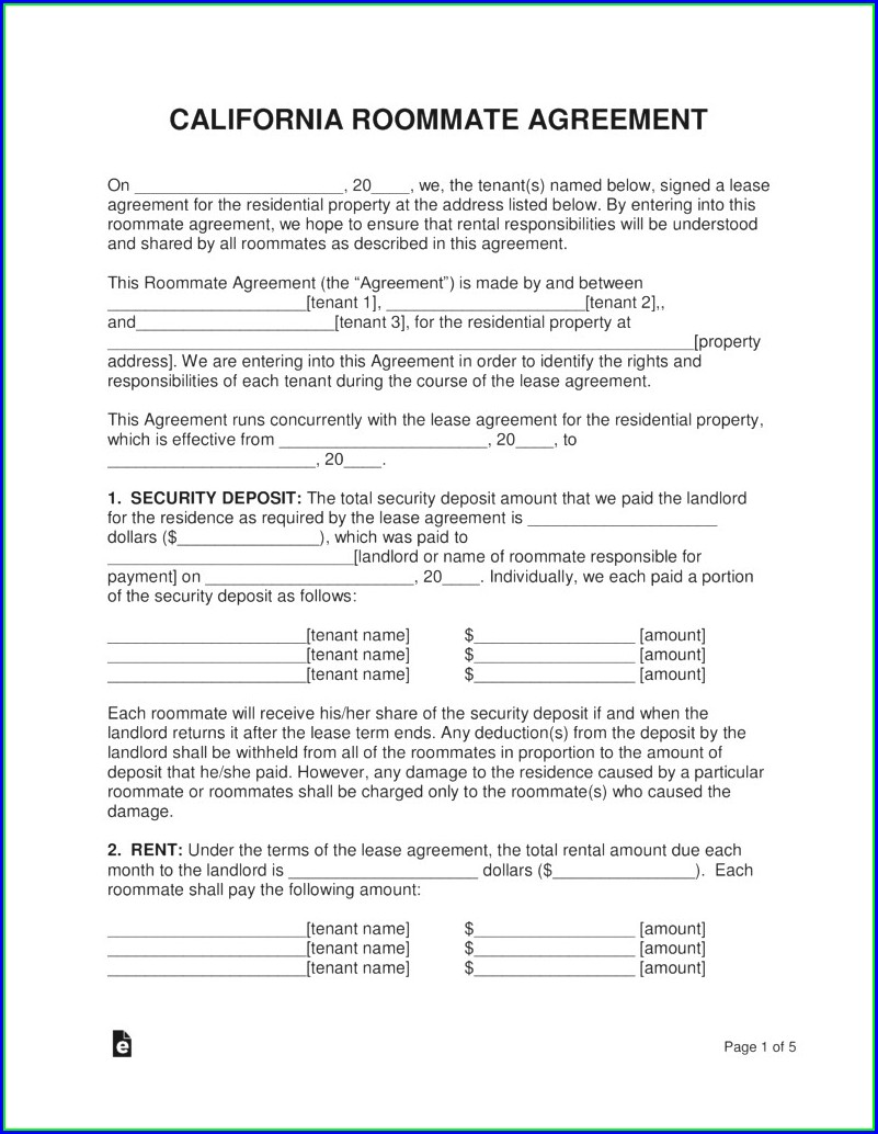 Roommate Rental Agreement Template Free