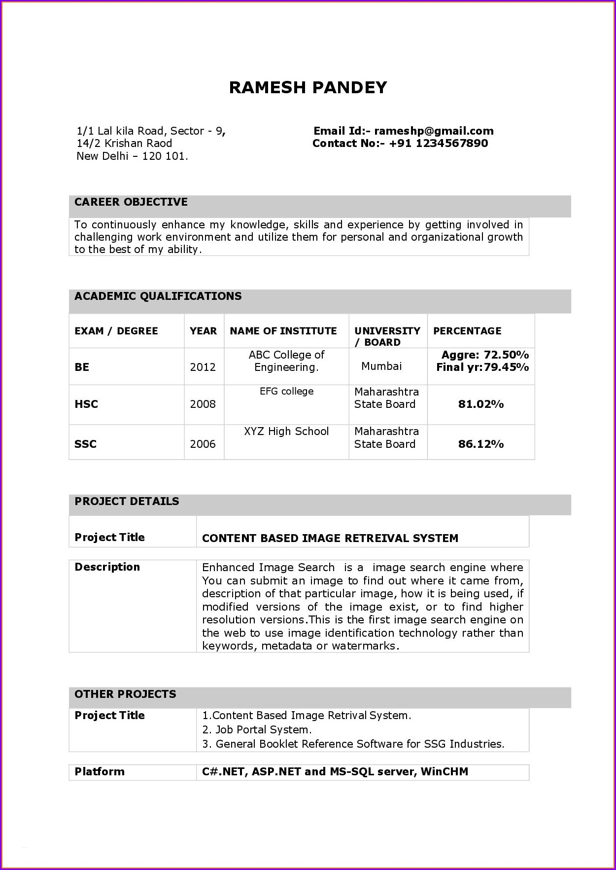 Sales Resume Format Free Download