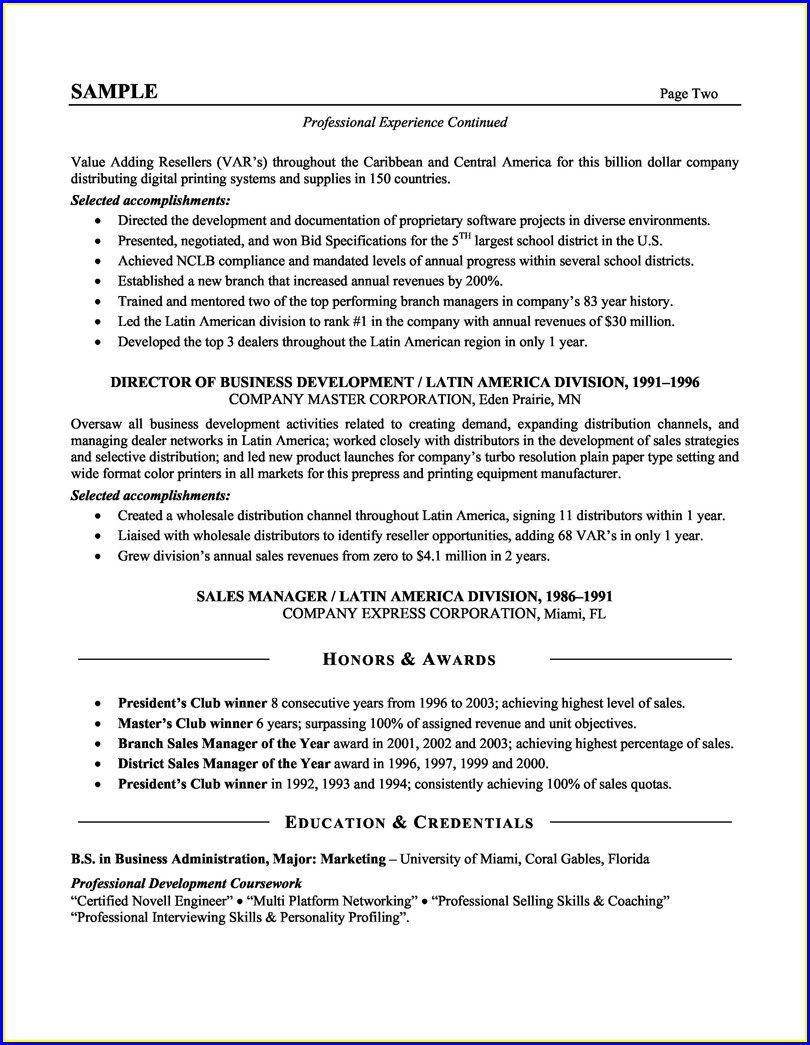 Sales Resumes Examples Free