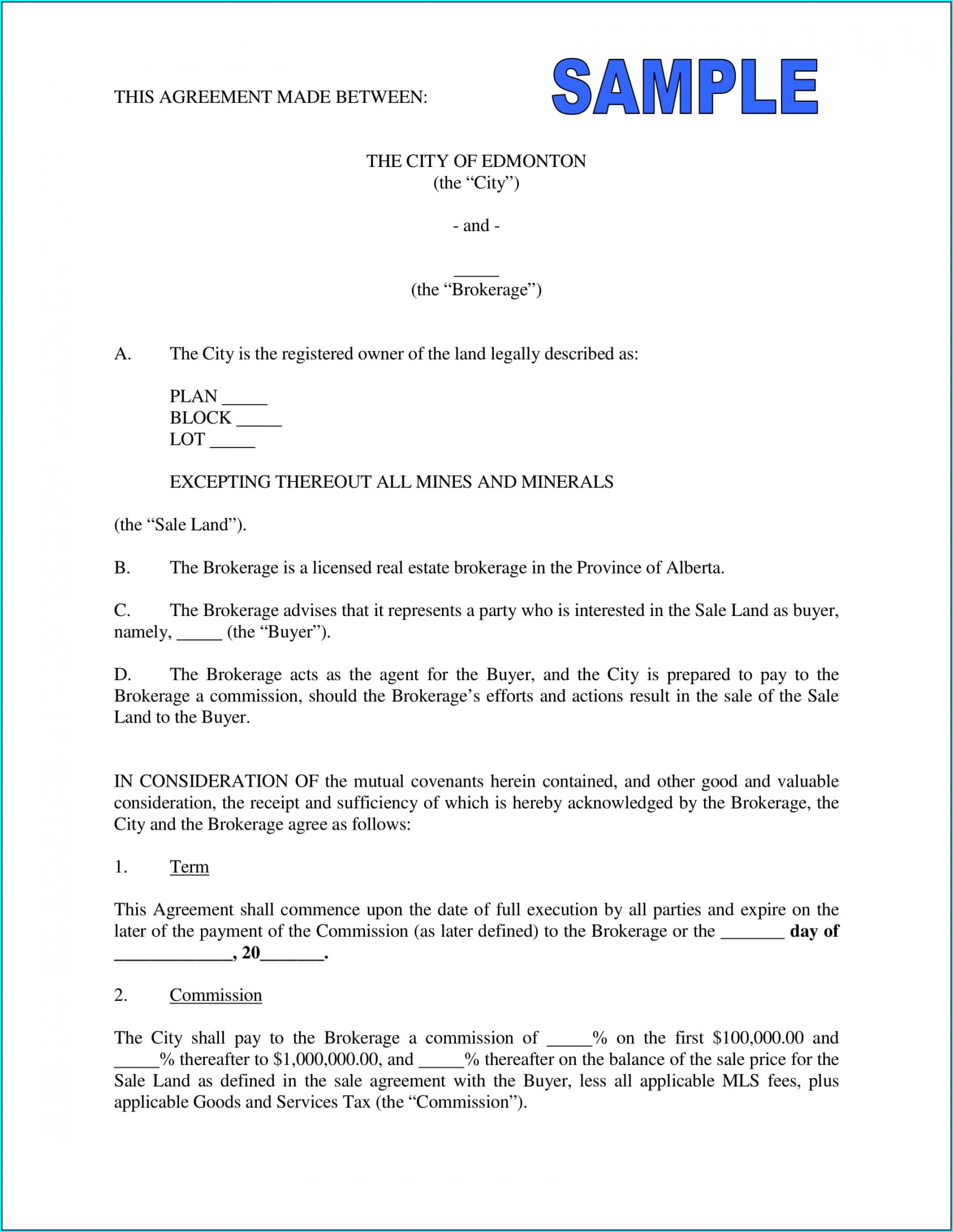 Sample Commission Agreement Template