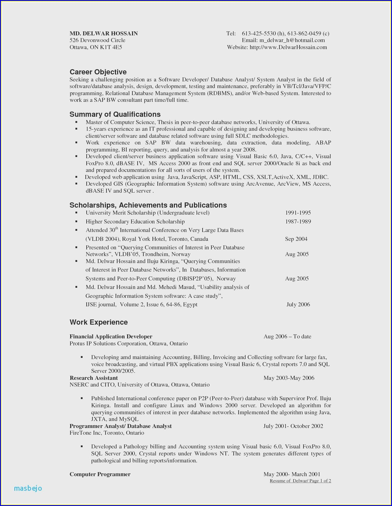 Sample Cv For Dot Net Developer