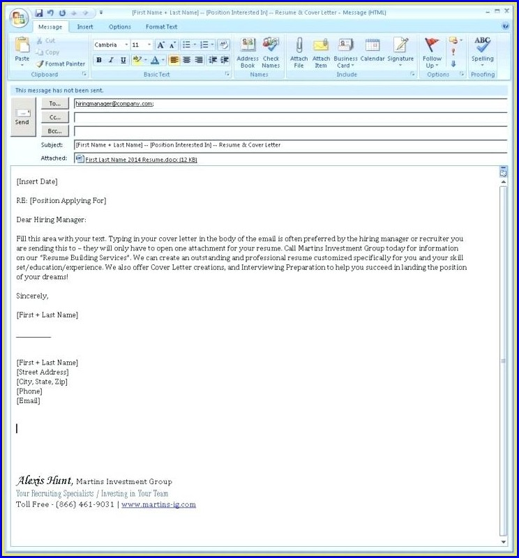 Sample Email Attaching Cv And Cover Letter