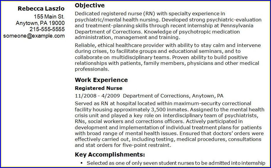 Sample Er Nursing Resume