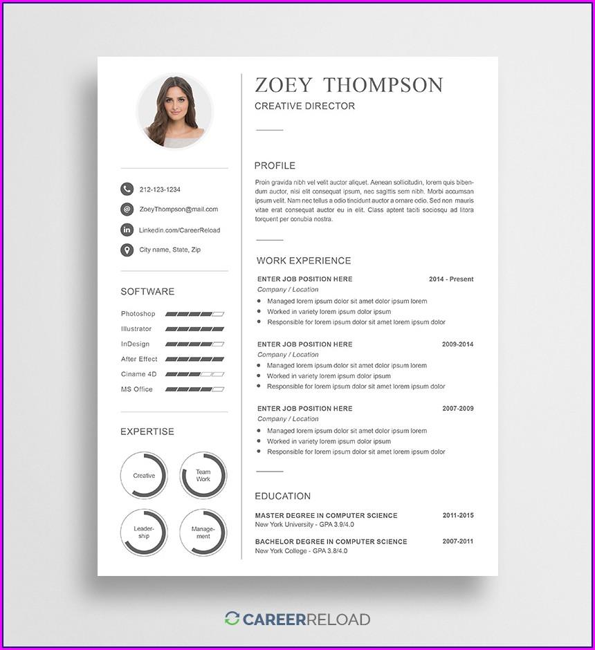 Sample Free Downloadable Editable Free Resume Templates