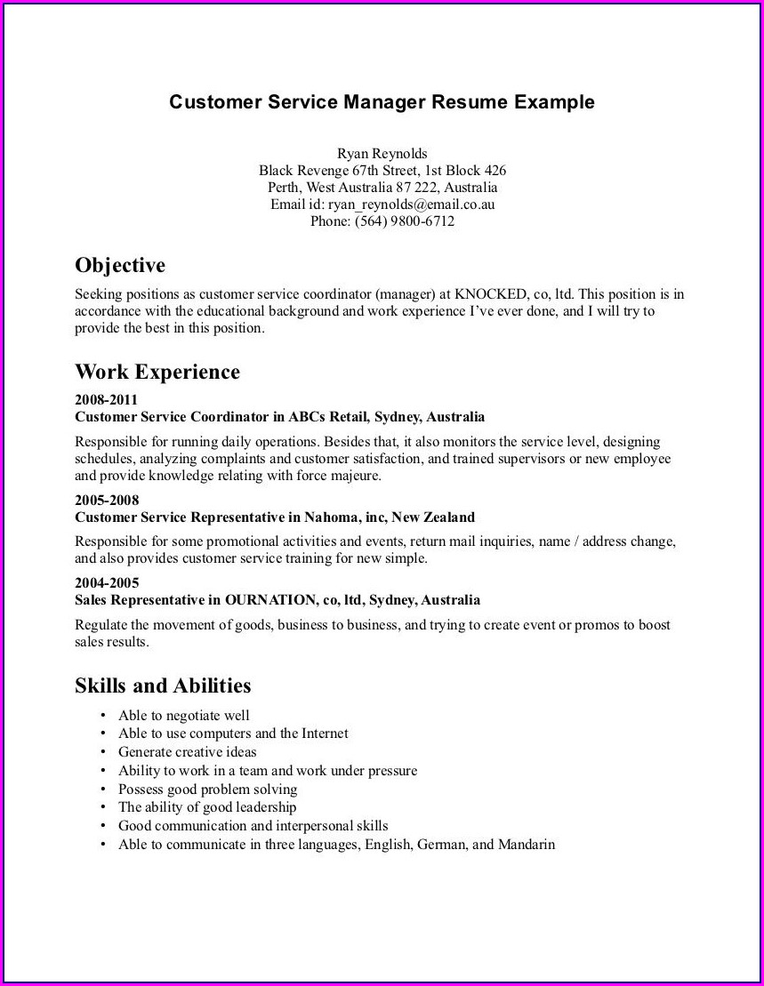 Sample Objective For Customer Service Representative Resume