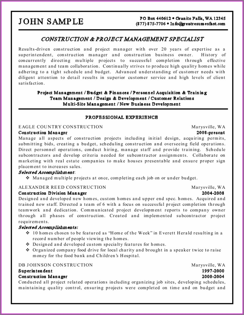Sample Objectives For Resumes Project Management