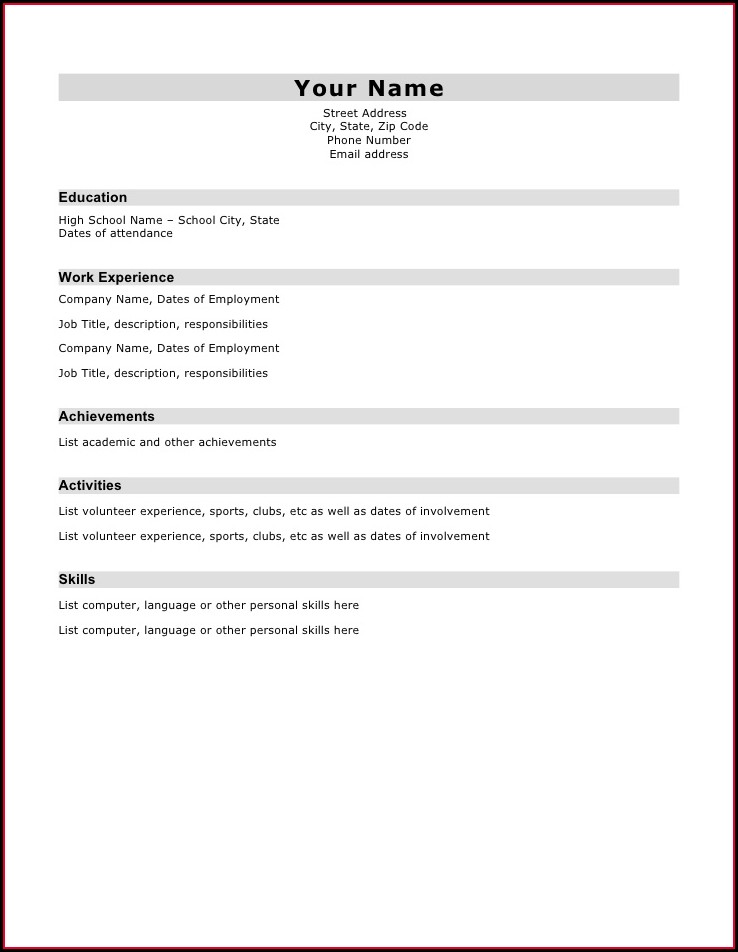 Sample Of Basic Resume Format