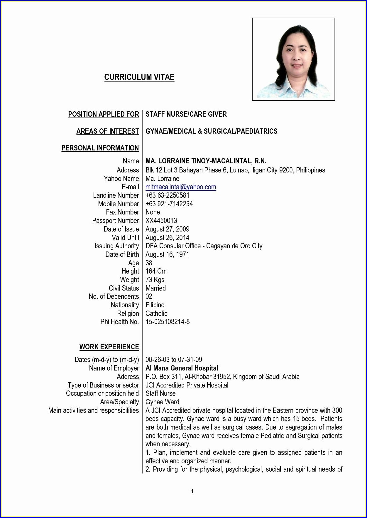 Sample Of Nurses Resume