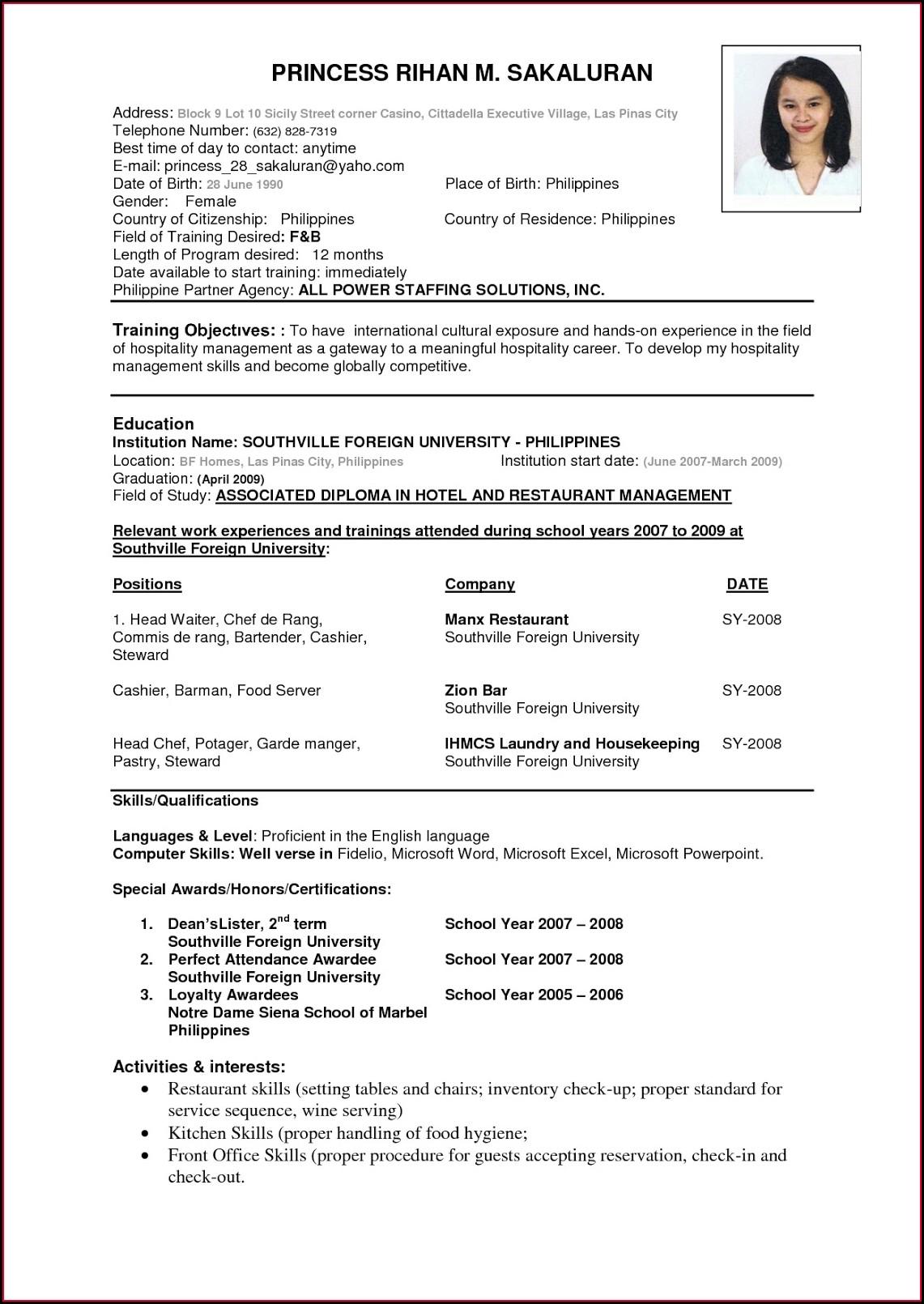 Sample Of Resume Format In Word