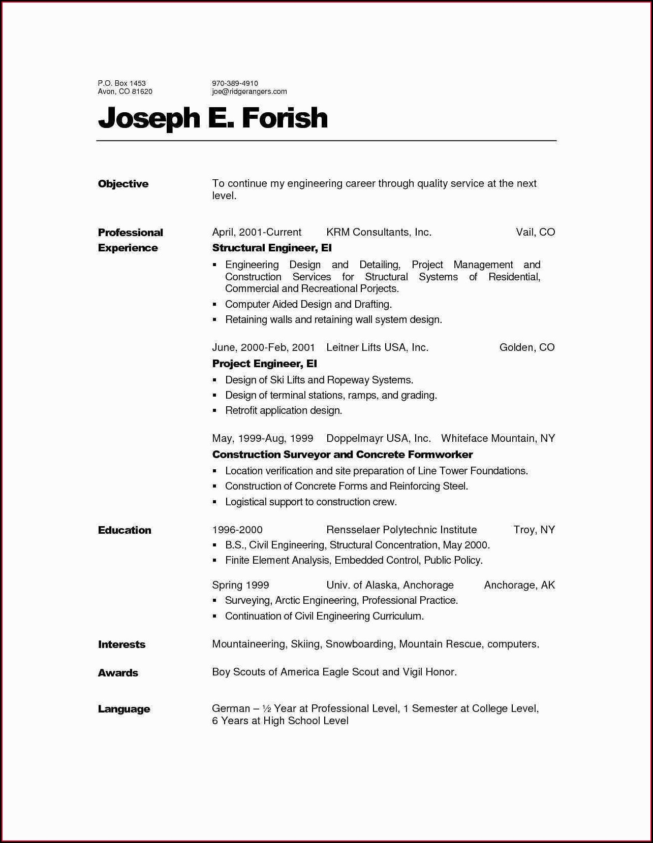 Sample Of Resume Format With Picture