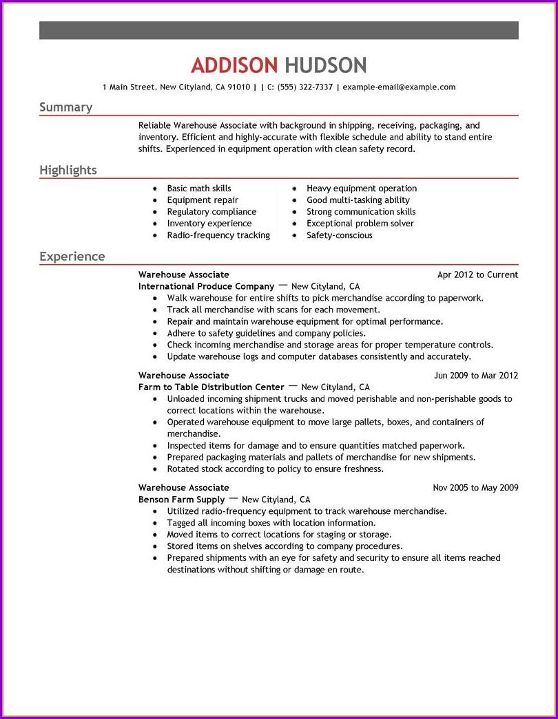 Sample Of Warehouse Associate Resume