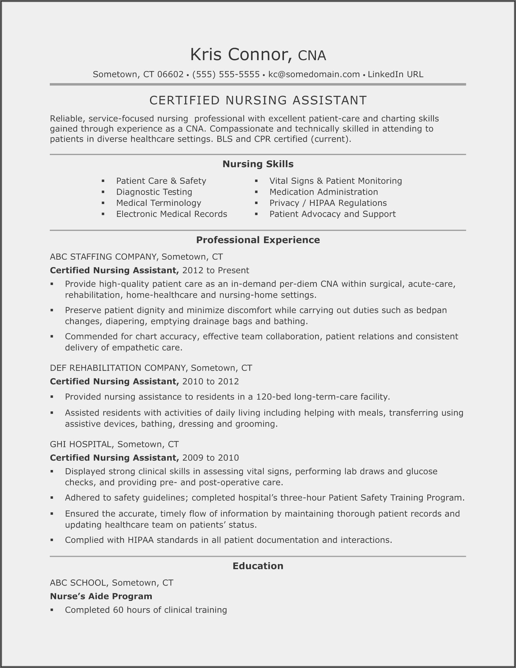 Sample Resume For Applying Nursing Assistant