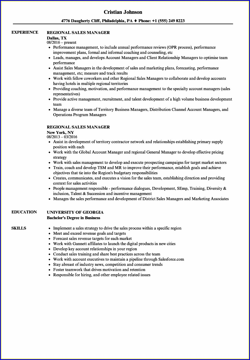 Sample Resume For Area Sales Manager In Fmcg