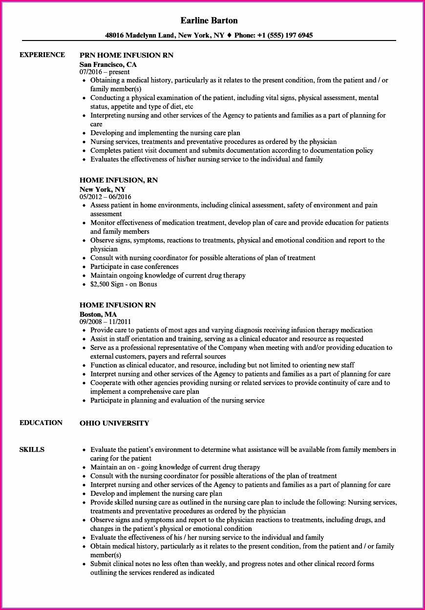 Sample Resume For Bsn Nurse