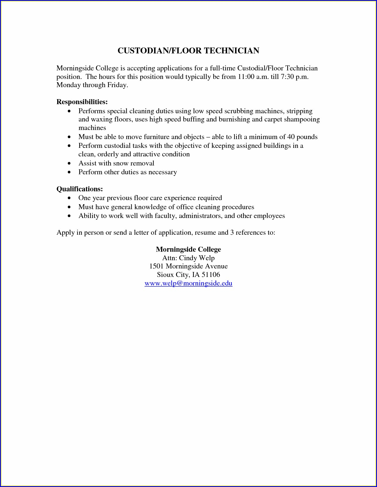 Sample Resume For Cleaning Jobs