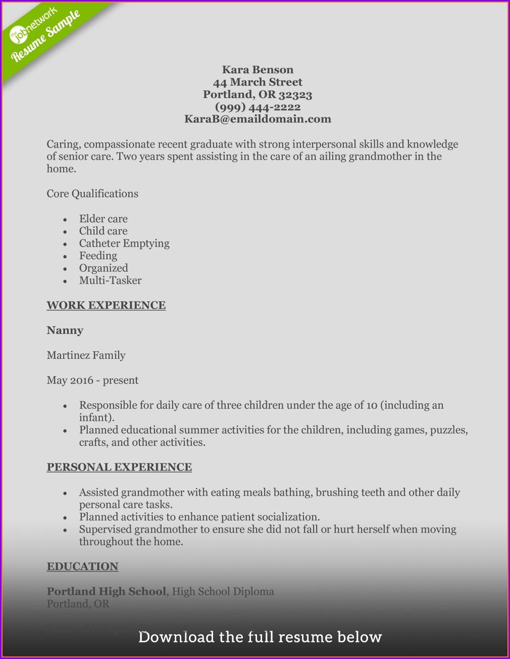 Sample Resume For Cnahha