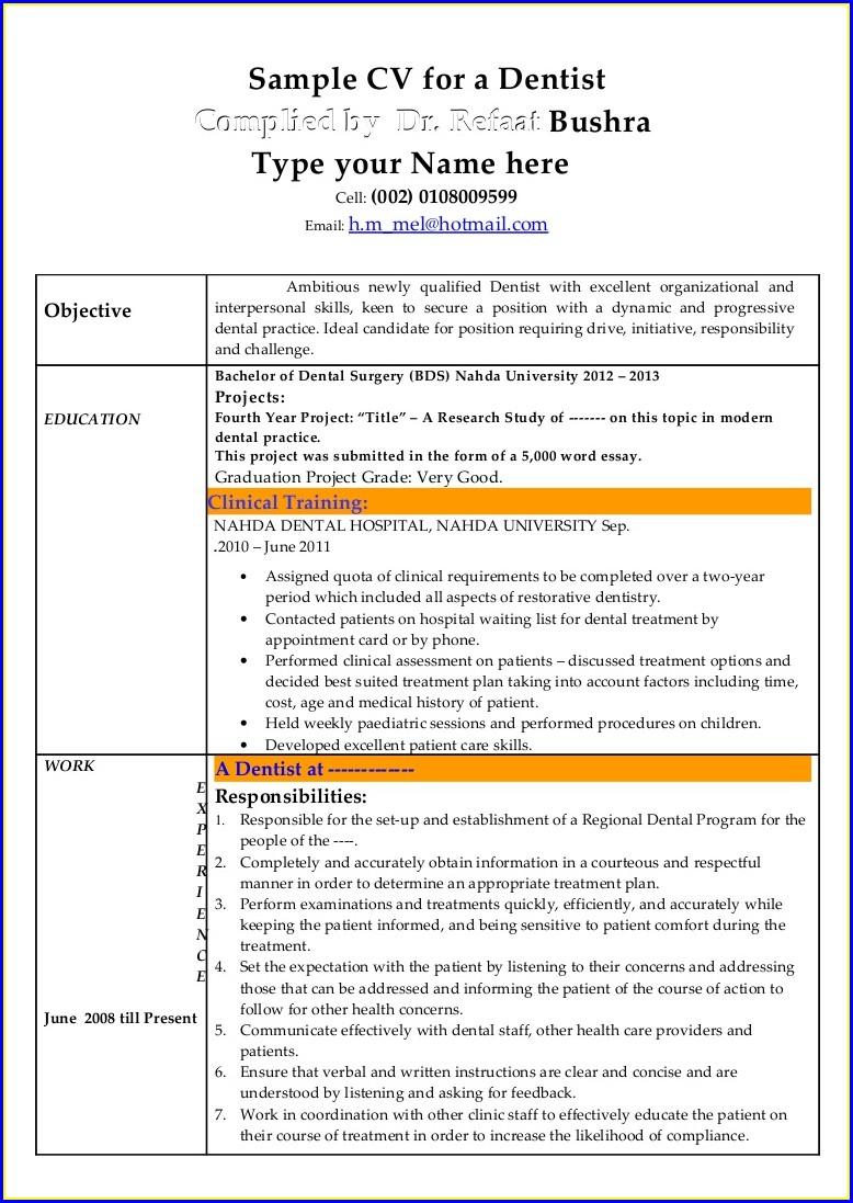 Sample Resume For Dentist Job In India