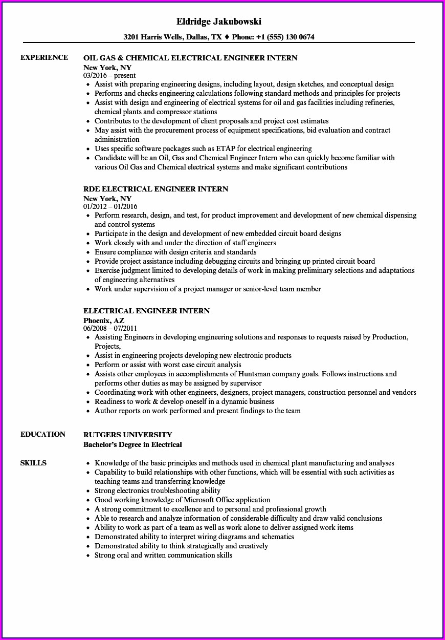 Sample Resume For Electrical Engineer Internship