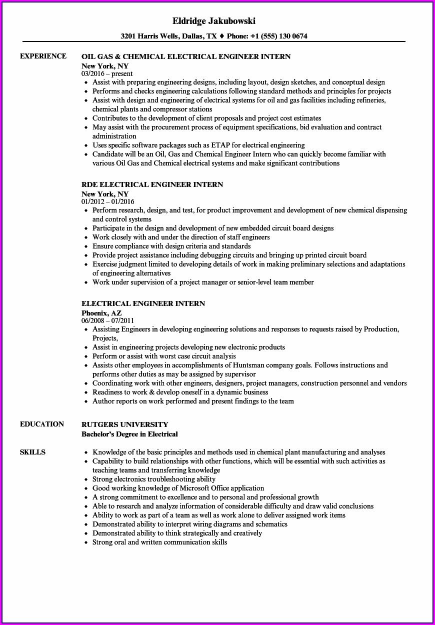 Sample Resume For Electrical Engineer Internship