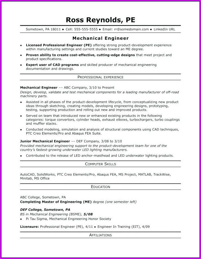 Sample Resume For Electrical Engineering Student