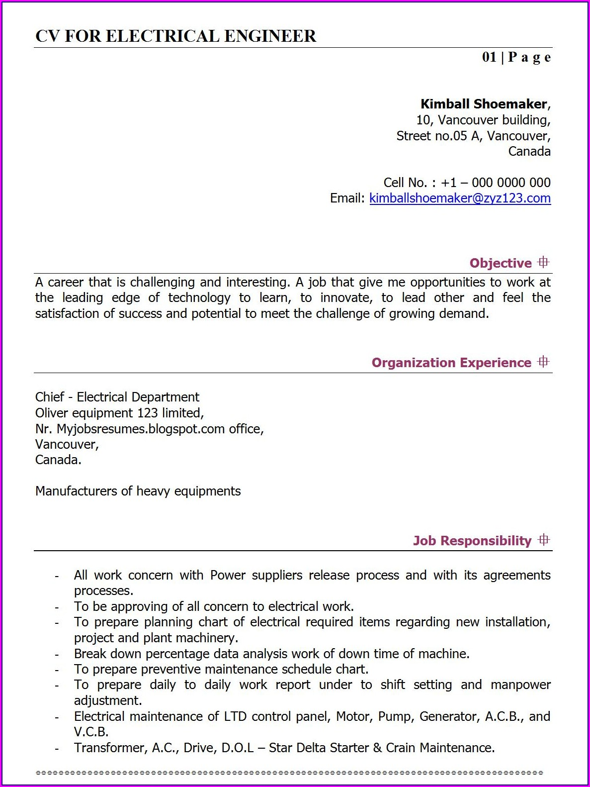 Sample Resume For Electrical Engineers