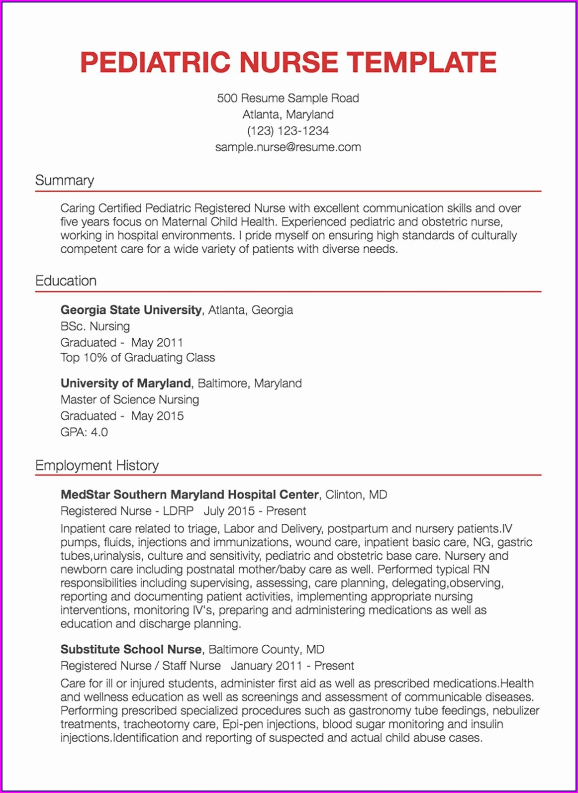 Sample Resume For Experienced Registered Nurse