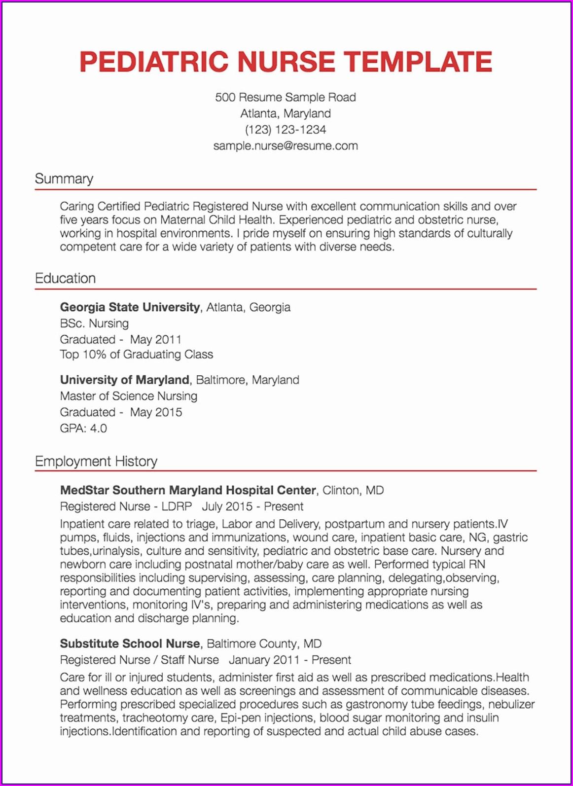 Sample Resume For Experienced Registered Nurse