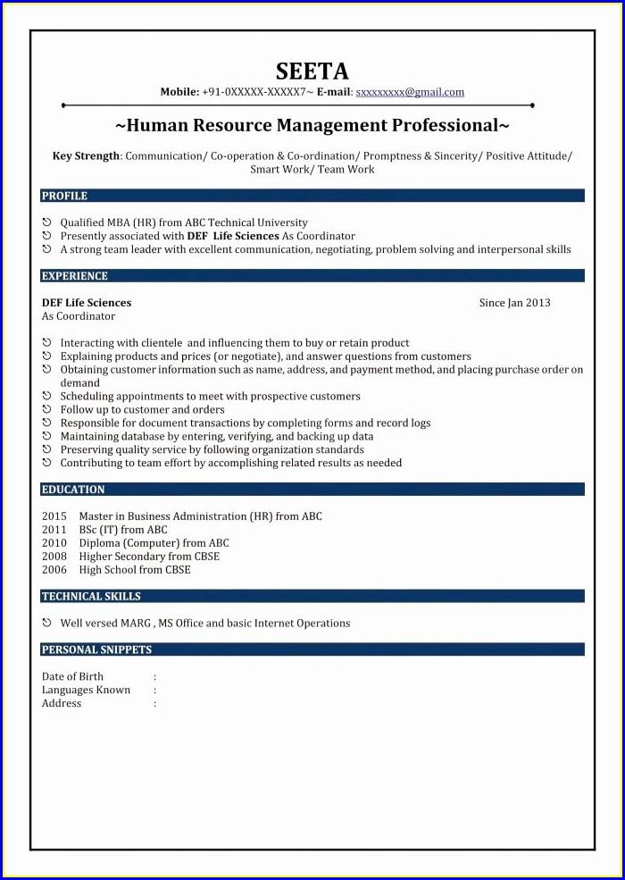 Sample Resume For Fresher Diploma Mechanical Engineer
