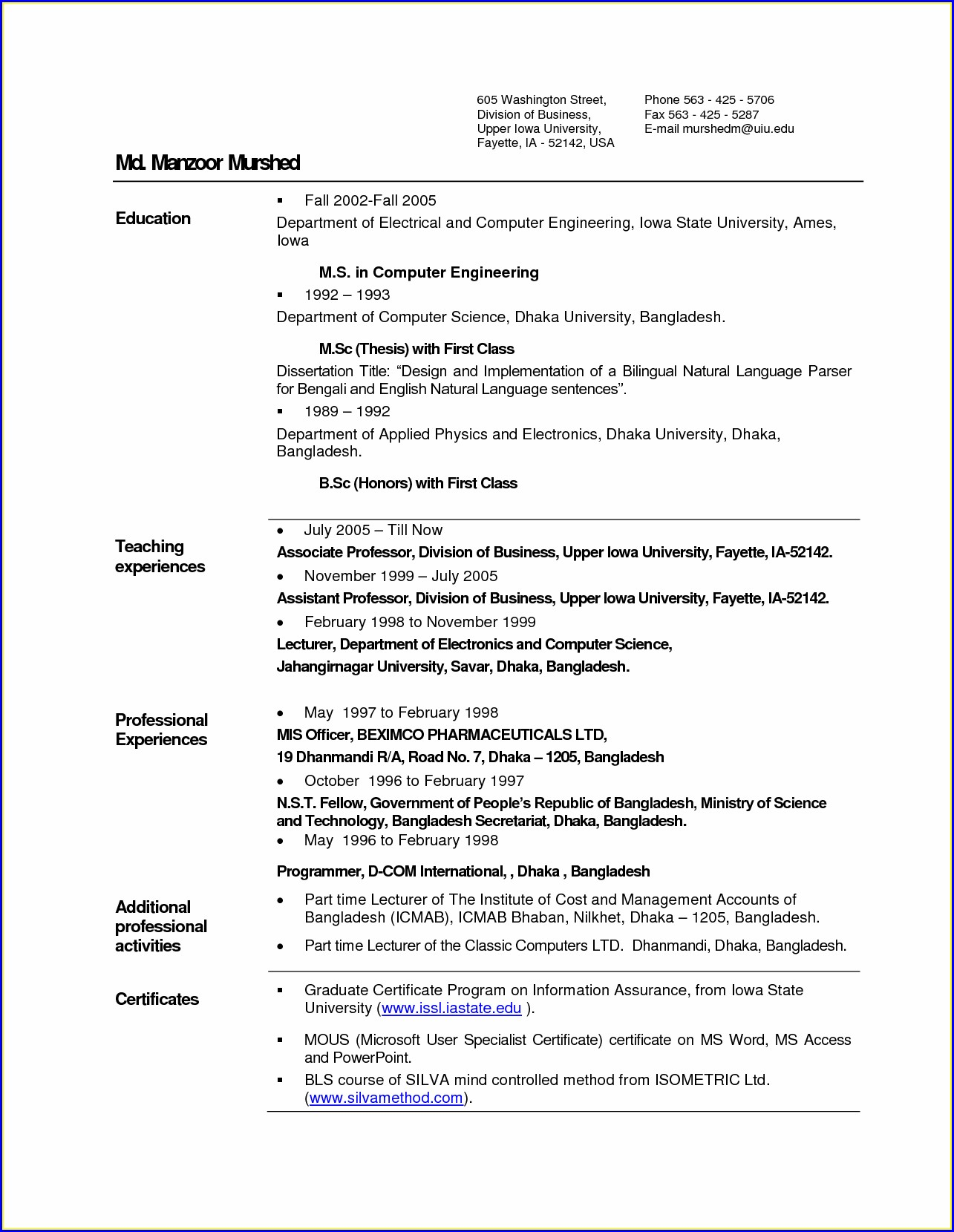 Sample Resume For Freshers Engineers Computer Science Pdf